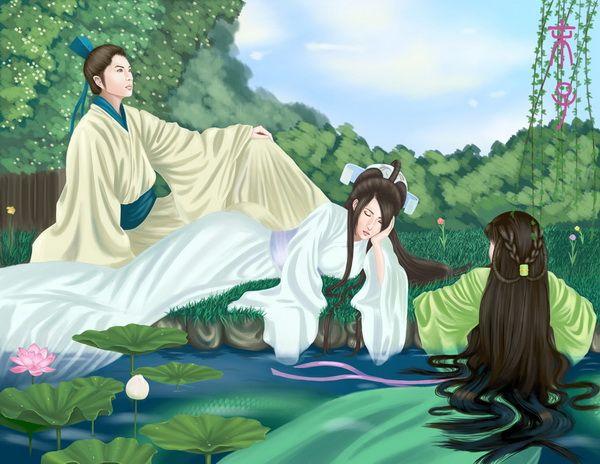 Bái Suzhēn, Xiǎo Qīng e Xǔxiān à beira de um lago