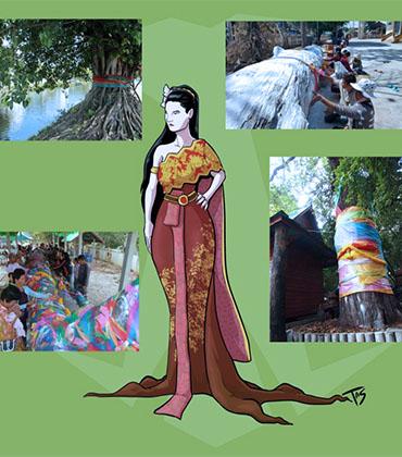Nang Ta-Khian e pequenas imagens de árvores Ta-Khian