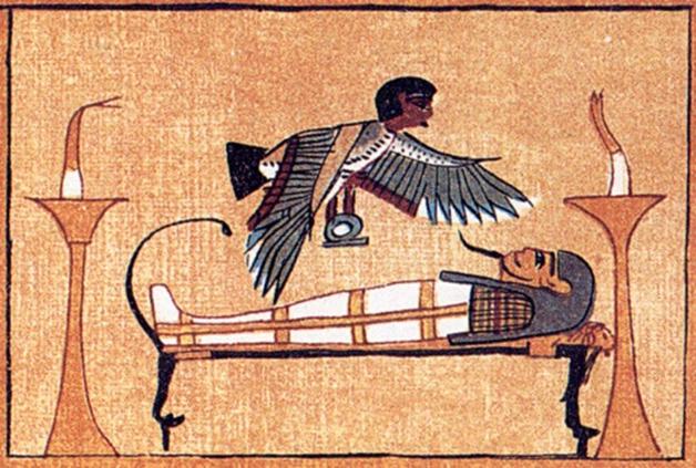 Representação isolada do bá: um pássaro com cabeça humana. Ao centro, tem uma pessoa deitada, e em cada lado tem algo parecido com uma tocha. A imagem é toda num tom marrom-pastel.