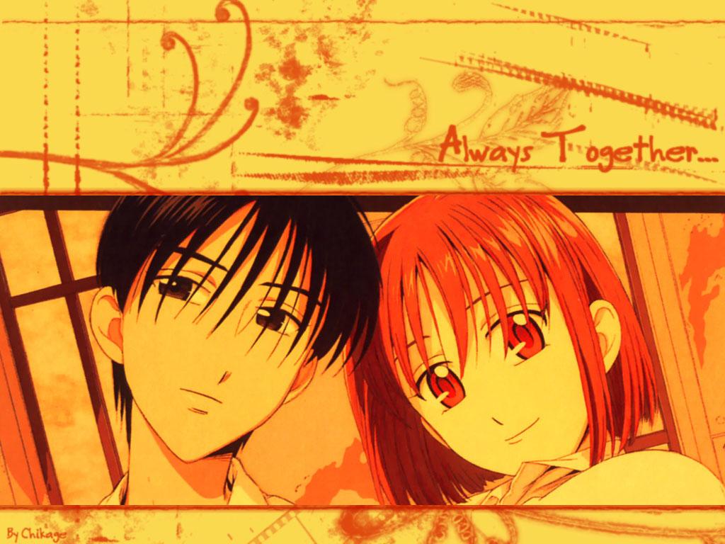 """Arima (à esquerda) e Yukino (à direita). Acima de Yukino, aparece escrito """"Always Together"""" (sempre juntos) em vermelho. A imagem inteira aparece em tons de vermelho e amarelo."""