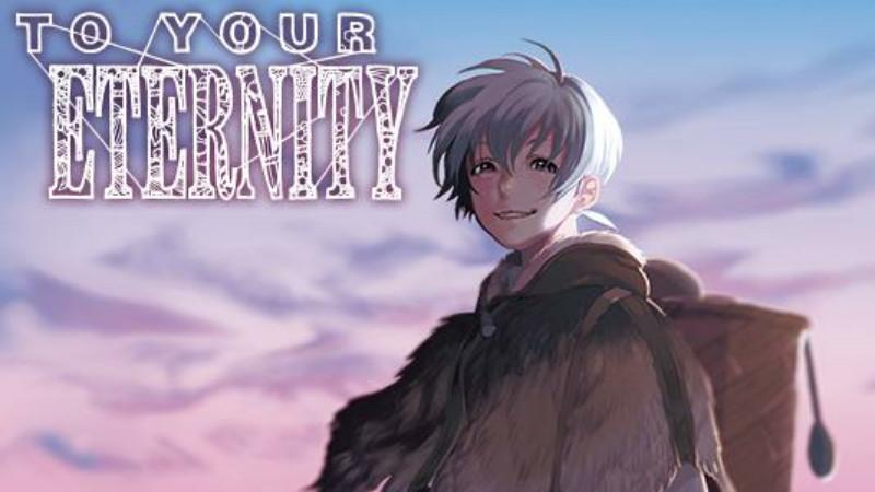 """Garoto sorrindo, com roupa de frio, um casaco de pele em tom marrom. Do lado esquerdo superior, as palavras """"To Your Eternity"""" entrelaçadas."""